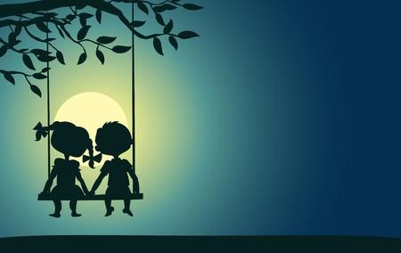 소년과 스윙에 앉아있는 여자의 달빛 실루엣 일러스트