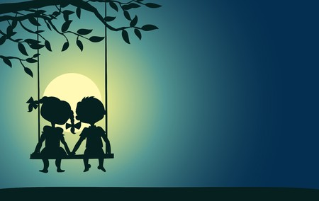Moonlight silhouettes of a boy and a girl sitting on a swing Ilustração