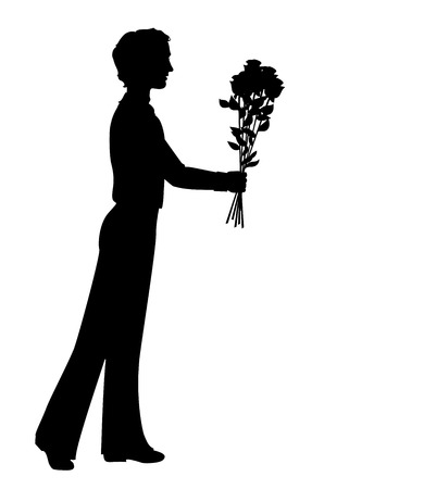 rose silhouette: Silhouette of a man holding bunch of flowers. Hand drawn illustration Illustration