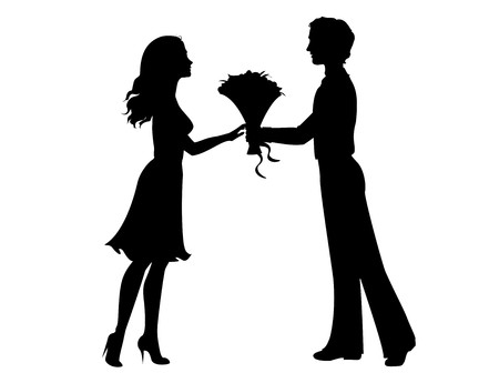 giving gift: Silhouettes of man and woman Illustration