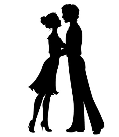 wedding couple silhouette: Silhouettes of man and woman Illustration