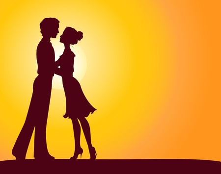 romantic date: Silhouettes of man and woman Illustration