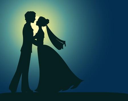 prin: Siluetas de la novia y el novio Vectores