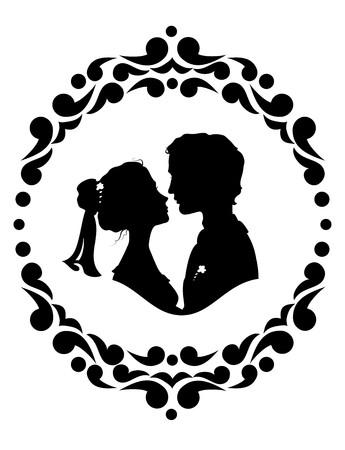 silhouette fleur: Silhouettes de la mariée et le marié. Noir sur fond blanc