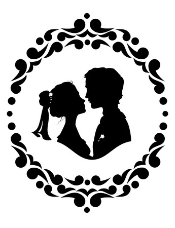 Silhouettes of bride and groom. Black against white background Иллюстрация