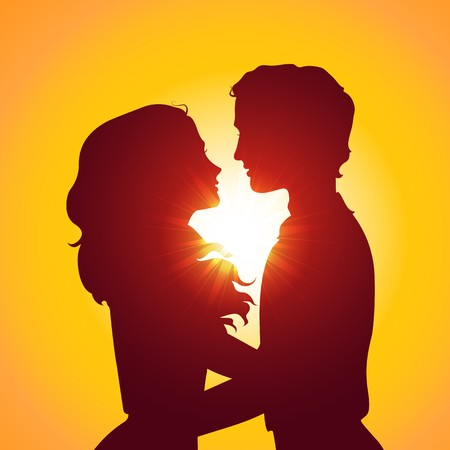 boyfriend: Sunset silhouettes of kissing couple. Eps10 vector illustration