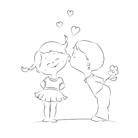 Hand drawn Illustration of kissing boy and girl Illustration
