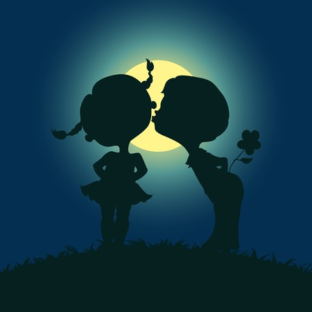 kiss: Moonlight silhouettes of kissing boy and girl