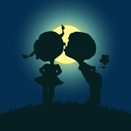 enamorados besandose: Moonlight siluetas de ni�o y ni�a besos