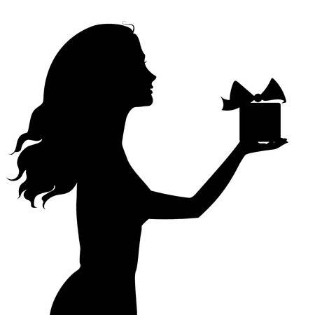 hair bow: Silhouette of woman holding a gift box