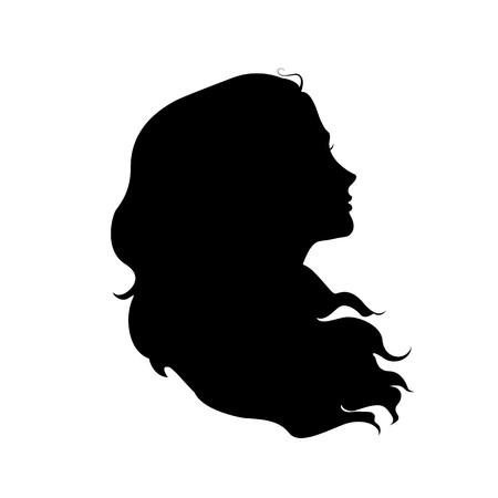 Silhouet van het hoofd van de vrouw met wapperende haren Stock Illustratie