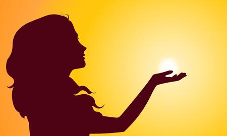 sun tanning: Sunset silhouette of woman Illustration