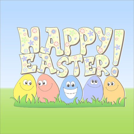 Happy Easter card, cartoon style Vector