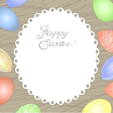 Happy easter card with eggs and space for your text. Vector
