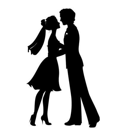 Silhouetten van de bruid en bruidegom. Eps 8 vector illustratie Stock Illustratie