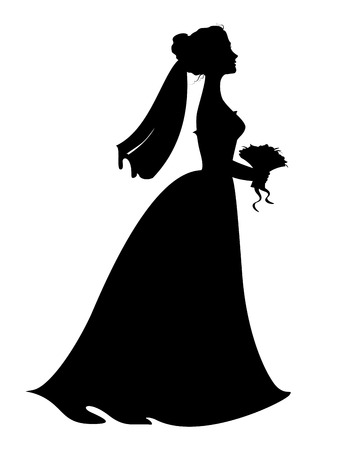 Silhouette of bride with bridal bouquet. Eps 8 vector illustration Vector