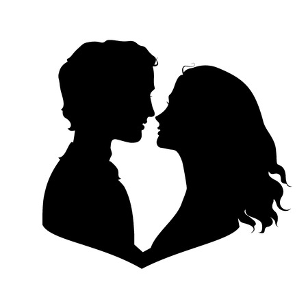 Silhouettes of loving couple. Eps 8 vector illustration Vector