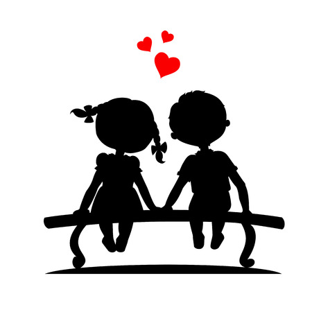 Silhouettes of a boy and a girl sitting on a bench Vector