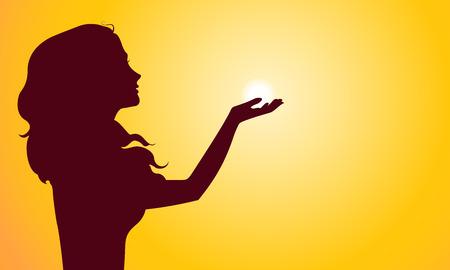 Zonsondergang silhouet van de vrouw. Eps 8 vector illustratie