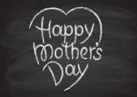 Happy mothers day hand-drawn lettering. Chalk letters on the blackboard