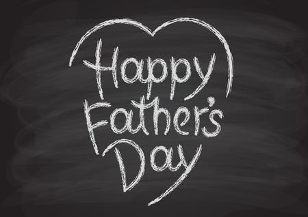 Happy fathers day hand-drawn lettering. Chalk letters on the blackboard Illustration