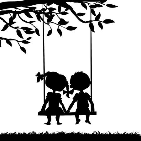 siluetas de enamorados: Siluetas de un niño y una niña sentada en un columpio