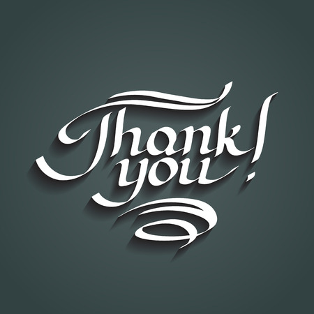 Thank you hand-drawn lettering. Vector