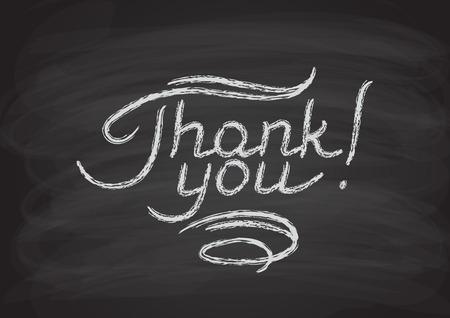 te negro: Gracias letras dibujadas a mano. Chalk letras en la pizarra