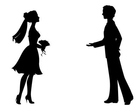 Silhouetten von Braut und Bräutigam. Standard-Bild - 27455326