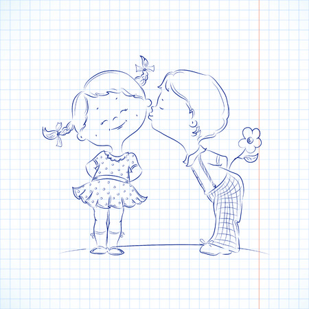 squared paper: Hand drawn Illustration of kissing boy and girl on a squared paper