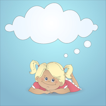 Cartoon girl dreaming with a thought bubble made of clouds Vector