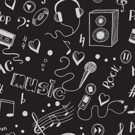 walkman: Seamless background with sketch music elements. Eps 8 vector illustration Illustration