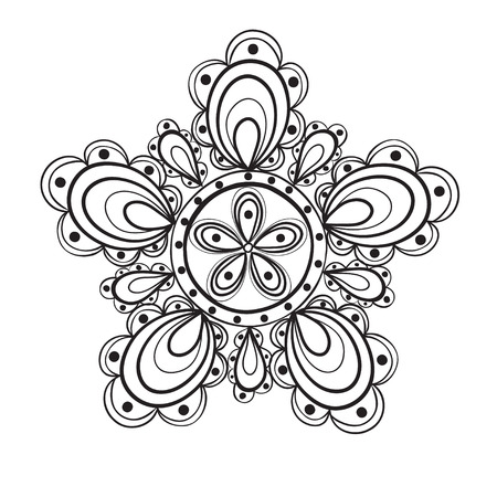 Fantasy flower, black and white lace pattern Vector