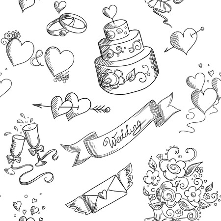 svatba: Bezešvé pozadí s ručně tažené svatební designové prvky Ilustrace