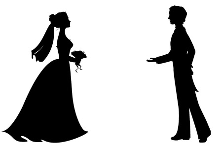 Silhouettes of bride and groom. Vector