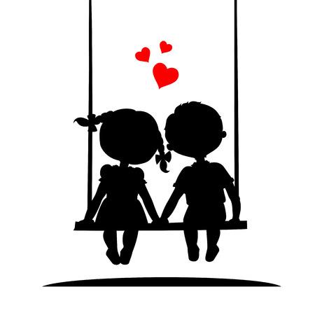 parejas enamoradas: Siluetas de un niño y una niña sentada en un columpio
