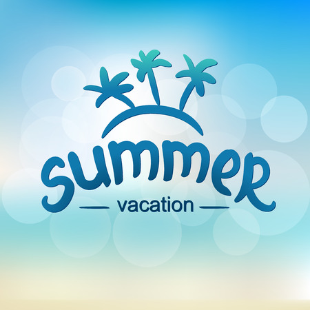 Summer vacation - typographic design. Hand drawn lettering elements.  Illustration