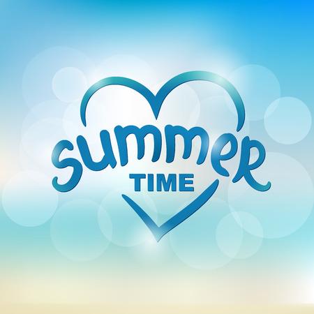 Summer time - typographic design. Hand drawn lettering elements.  Illustration