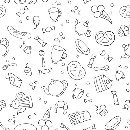 Sketch illustration of tea and sweets. Seamless background Vector