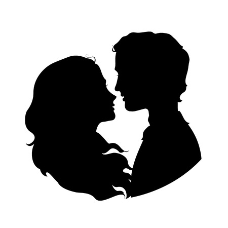 Silhouettes of loving couple.  Ilustrace