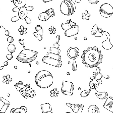 bootees: Seamless children background. Sketch with childrens toys and elements Illustration