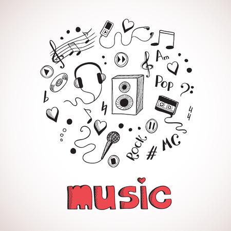 Sketch of music elements. Eps 8 vector illustration Vector