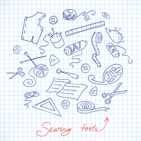measuring tape: Sketch of sewing tools on a checkered paper Illustration