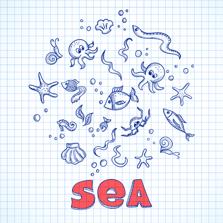 Sketch of sea life elements. Eps10 vector illustration Illusztráció