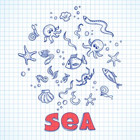alga: Sketch of sea life elements. Eps10 vector illustration Illustration