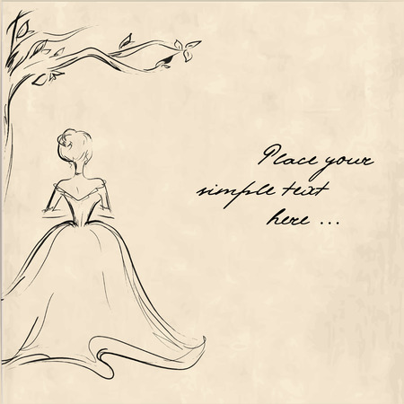 Sketch of a young woman from the back standing lonely under the tree. Retro illustration, template design for card with space for your text