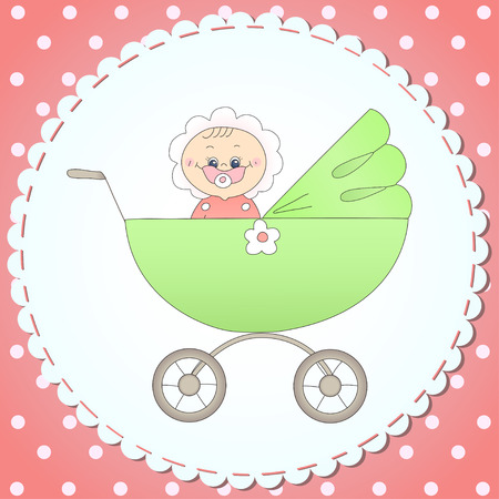 Card with a child in a carriage Vector