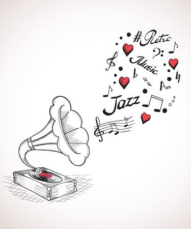 gramophone: Hand drawn illustration of gramophone with a bubble of music elements