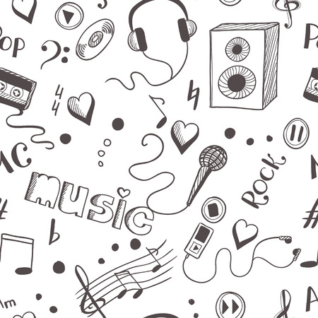 earbud: Seamless background with sketch music elements.