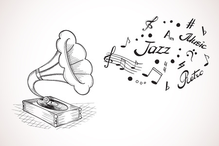 Hand drawn illustration of gramophone with a bubble of music elements